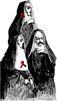 A handful of male nuns wearing red ribbons